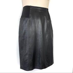 Dresses & Skirts - Leather Pencil Skirt Elastic Waist Black Medium